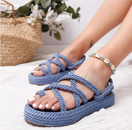 cross strap platform slippers - Jeybeauty