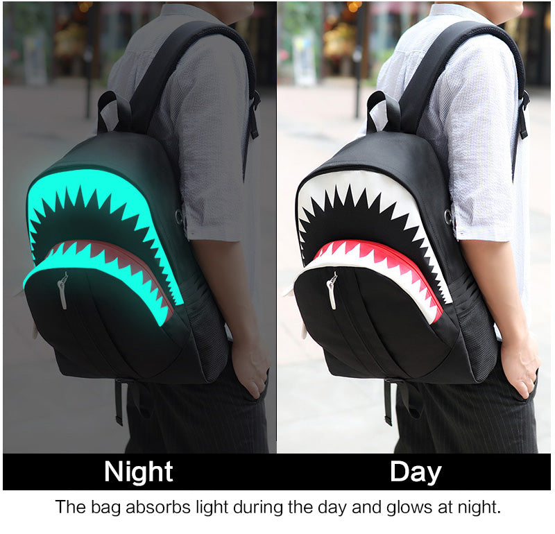 Big Mouth Shark Luminous School Backpack - Jeybeauty
