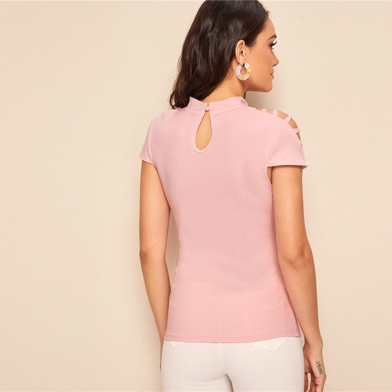 Caged Yoke Slim Form Fitting Blouse - Jeybeauty