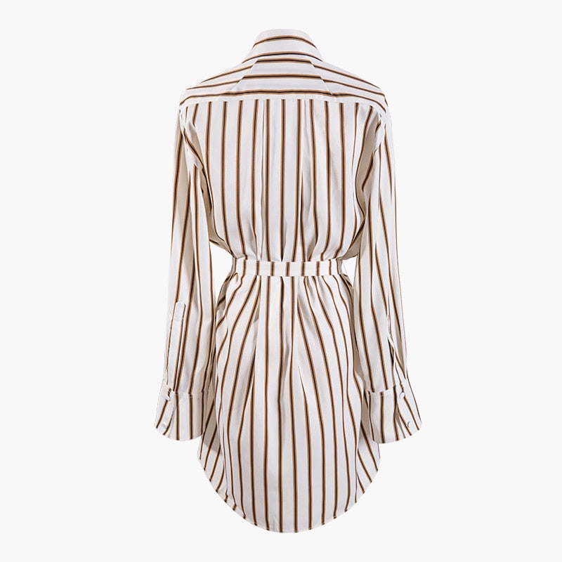 Winter Lapel Striped Split Joint Blouse - Jeybeauty