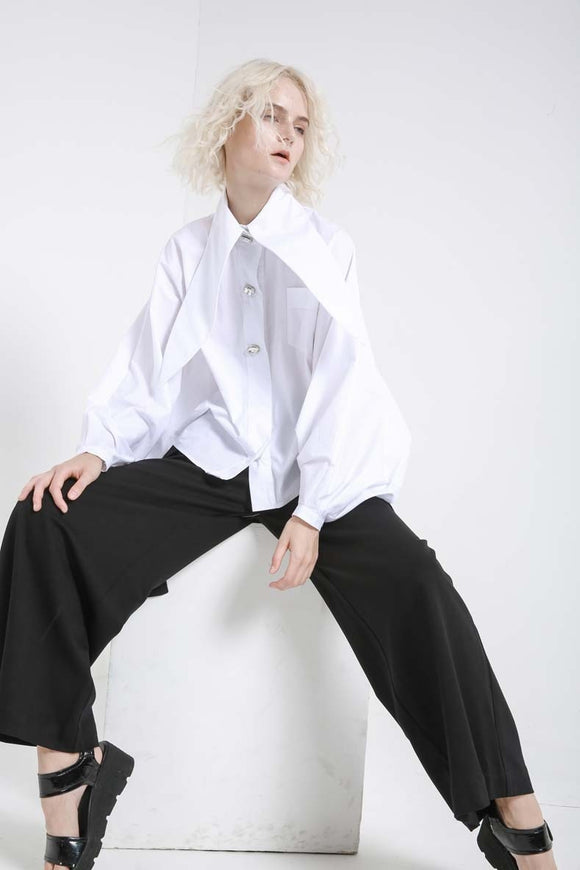 Lapel Lantern  Nailed Temperament Shirt - Jeybeauty