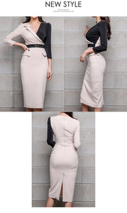 Classic Patchwork Pencil Blazer Dress - Jeybeauty