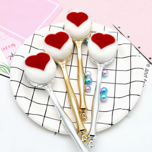 Red Peach Heart Oval Makeup Brush - Jeybeauty