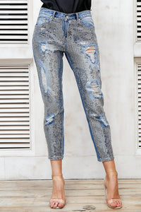 sequin ripped jeans