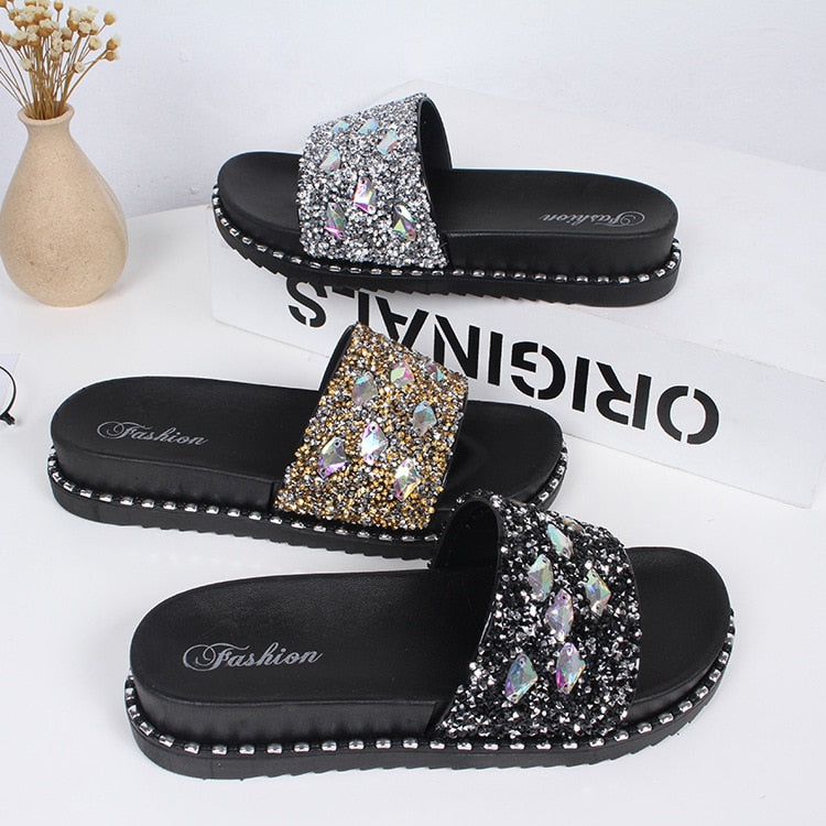 Gold Slides Crystal Slipper - Jeybeauty