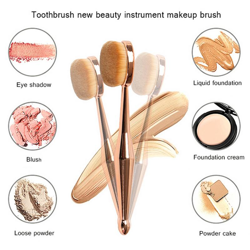 Red Dieny Make Up Brush Toothbrush Shaped New Beauty Instrument Makeup Brush Multi-functional Base Oval Brush Rose Gold Dropship - Jeybeauty
