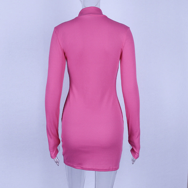 Middle Collar Bodycon Dress - Jeybeauty