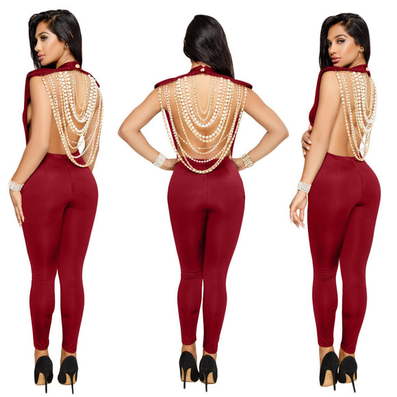 backless sleeveless Pearl necklace Jumpsuits - Jeybeauty