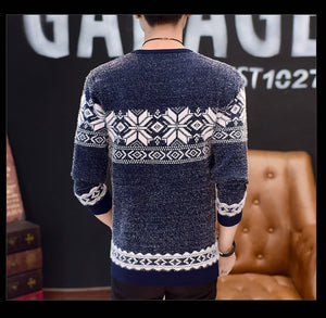 Autumn Winter New 9 Styles Casual Sweater Men Female Pattern Knitted Pullovers Fashion Slim Fit Christmas Gift Male Pull Sweter - Jeybeauty