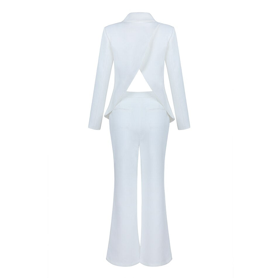 Elegant White Blazer Dress - Jeybeauty