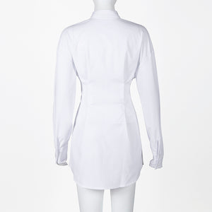 Elegant White Loose Shirt Dress - Jeybeauty