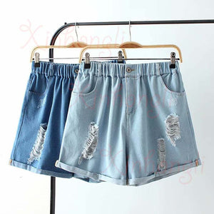 blue hole cuffs shorts skirt - Jeybeauty