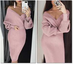 Elegant knitted pink batwing Bodycon - Jeybeauty