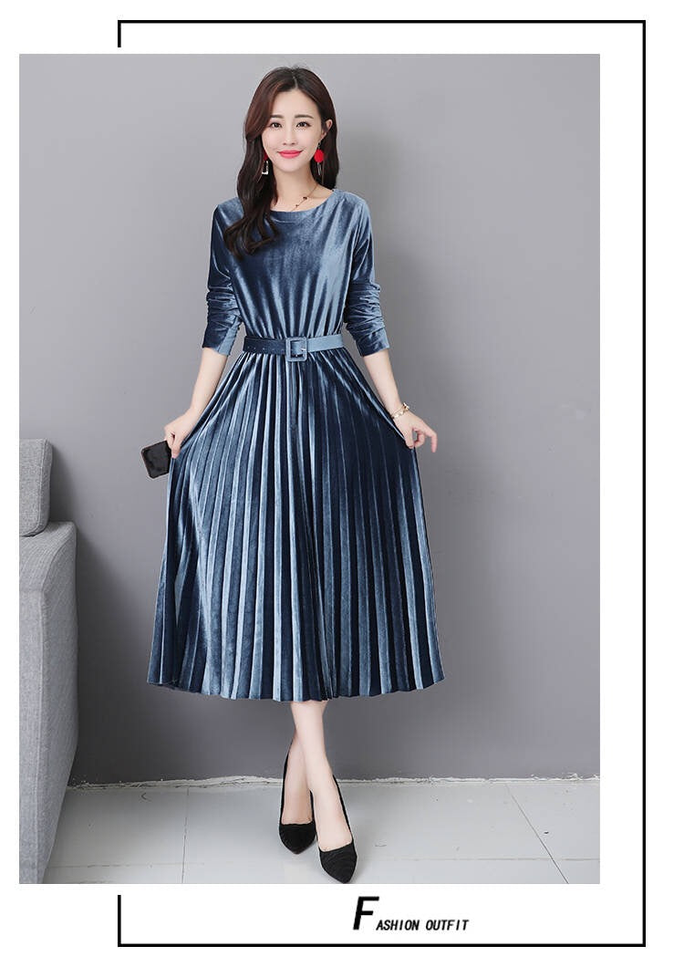 Elegant Velvet Solid Pleate Dress - Jeybeauty