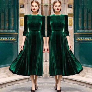 Elegant Retro Swing Velvet Style Dress - Jeybeauty