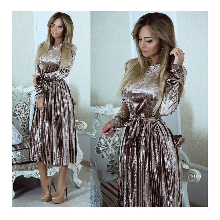 High Waist Mid Pleated Dress - Jeybeauty