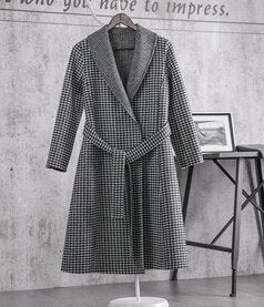 high waist overcoat plaid woolen coat - Jeybeauty
