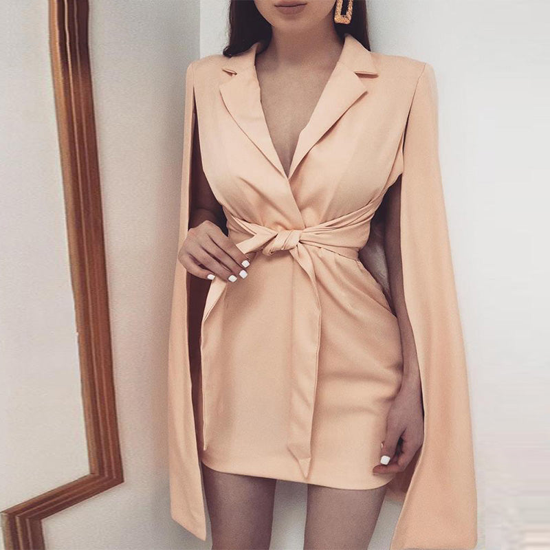 Elegant Knotted Cape Sleeve Blazer Dress - Jeybeauty