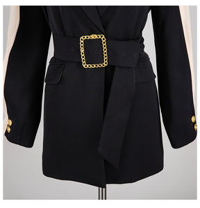 Belt Spliced Hit Color Blazer - Jeybeauty