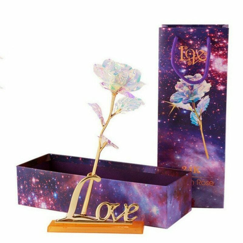 New Romantic Galaxy Rose with Love Base Stand - Jeybeauty