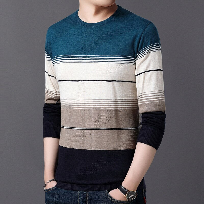 Blouse New 2019 Men's Knitted Sweaters Men's Casual Athleisure Tops Slim Round Neck Sweaters For Autumn Winter Fashion - Jeybeauty
