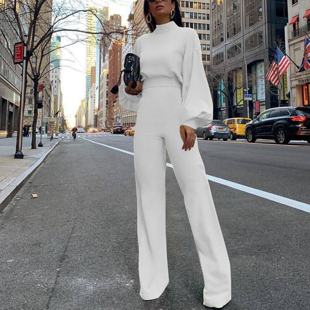 Elegant Workwear High Neck Lantern Jumpsuit - Jeybeauty