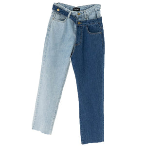 High Waist Hit Color Detachable Jeans