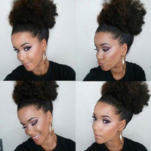 Afro Curly Human Hair Drawstring ponytail