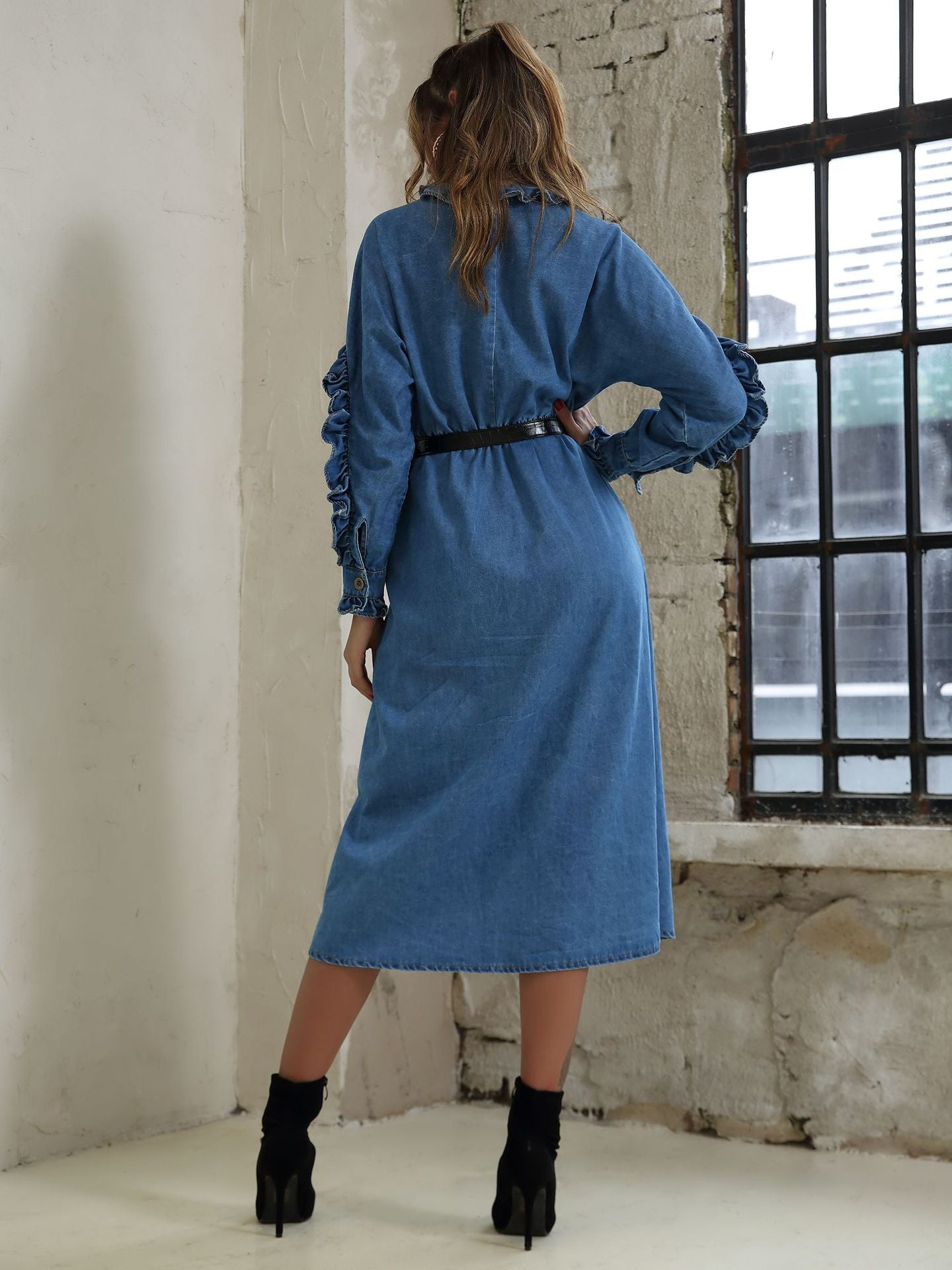 Denim Ruffles Vintage Dresses