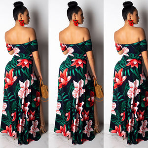 Hollow Split Boho Floral Print off Shoulder Dress