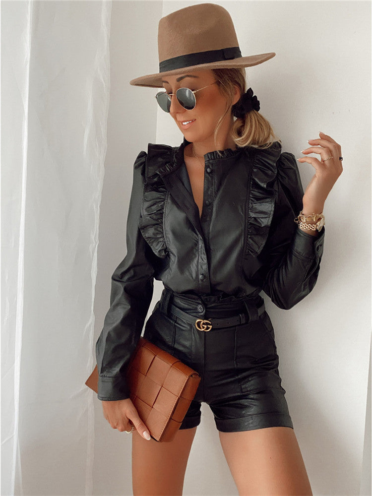 Leather Ruffle Shorts & Top