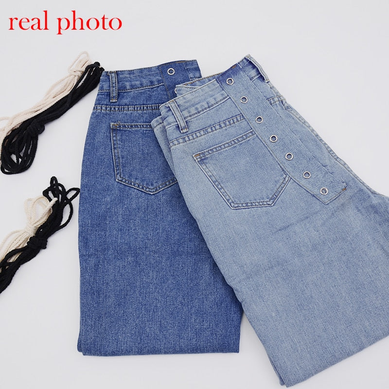 Classic High Waist Straight Skinny Denim Pants