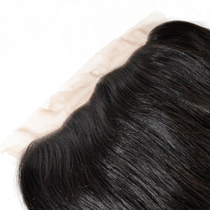 Virgin Hair Lace Frontal 13x4 Brazilian Straight Closures 100%Human Hair Bleached Knots Medium Brown Swiss Lace - Jeybeauty