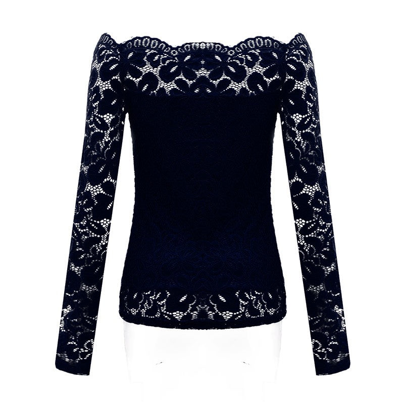 ZANZEA Women Tops 2018 Autumn Sexy Blusas Off Shoulder Slash Neck Lace Solid Shirts Long Sleeve Slim Casual Blouses Plus Size - Jeybeauty