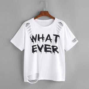 WHAT EVER Letters Printed T-shirt - Jeybeauty