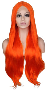 Lace Front  Orange Long Curly Handmade Hairline Glueless Heat Resistant Fiber Synthetic Hair Wigs - Jeybeauty