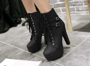 Belt Buckle Lace Up Ankle Motorcycle Martin Boots Thick Heel Winter British Ladies Shoes - Jeybeauty