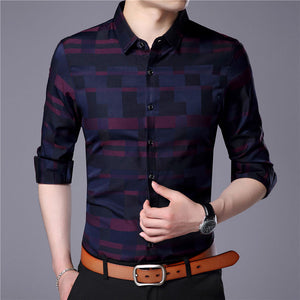 Long Sleeve Camisa Masculina Mens Shirt - Jeybeauty