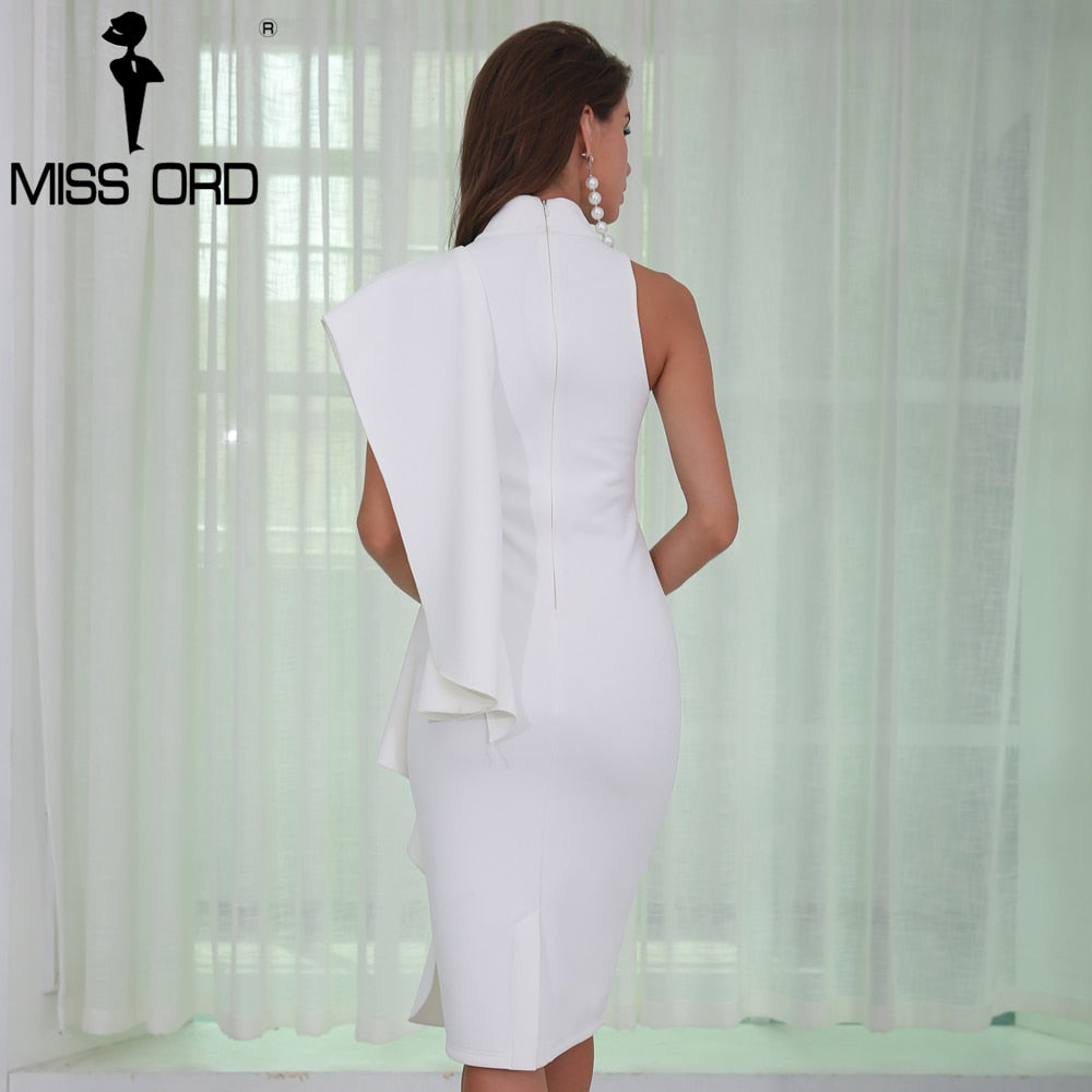 Sexy Women  O Neck Off Shoulder Fold  Solid Color  Split Personality Party Dress FT8572 - Jeybeauty