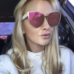 Metal Frame Cat Eye Mirror Oval Lens Brand Designer Fashion Ladies Sunglasses - Jeybeauty