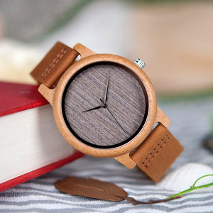Unisex Lightweight Round Bamboo Wood With Leather Bands Watch - Jeybeauty