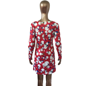 Long Sleeve Christmas Snowman Printing Christmas Party Dress - Jeybeauty