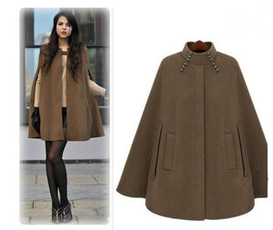 handsome cape coat solid wool poncho ladies loose warm outwear cashmere coat - Jeybeauty