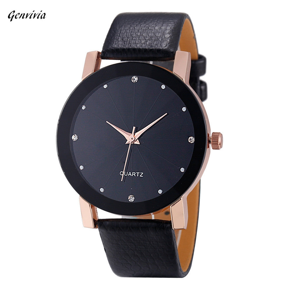 Smilelee Golden Luxury Top Men's Watch Black Business Quartz Sport Military Stainless Steel 12-hour Dial Leather Band Wristwatch - Jeybeauty