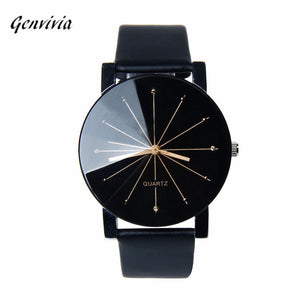 Luxury Brand Men's Watch Leather Round Case Stainless Steel Wristwatch - Jeybeauty