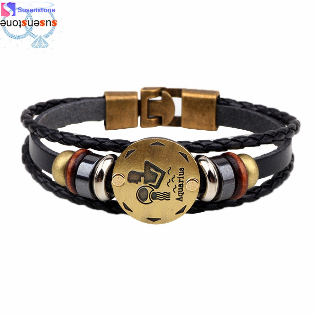 Twelve constellations Bracelet Fashion Jewelry Leather Personality Bracelet wristband - Jeybeauty
