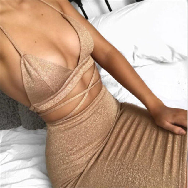 crop tops and pencil skirt strap set - Jeybeauty