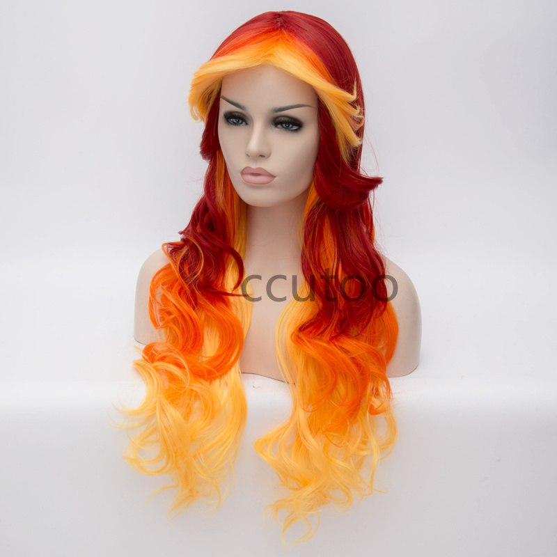 "28""Long Wavy Ombre Color Synthetic Hair High Temperature Fiber Cosplay Costume Wigs For Women Girl Party - Jeybeauty"