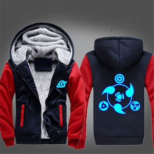 Naruto Hoodie Jacket WinterThick Zipper Luminous Sweatshirt - Jeybeauty
