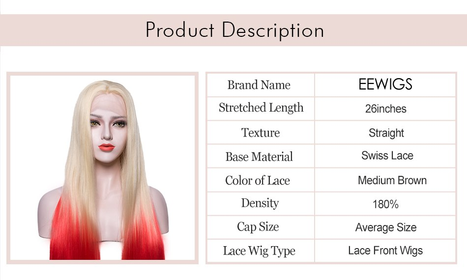 Red Lace Wig Lady's Lace Front Wig Long Blonde to Red 2 Tones Ombre Color Synthetic Wigs For White Women Wig 26inches - Jeybeauty